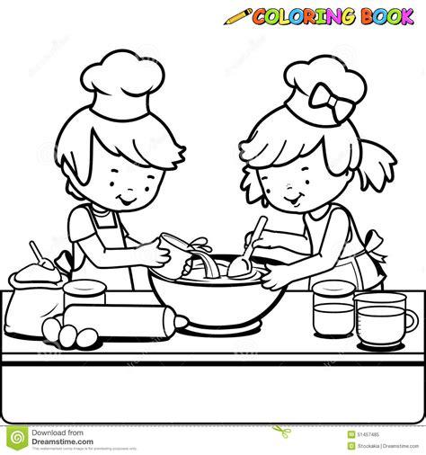 tablier noir de cuisine enfants faisant cuire la page de livre de coloriage