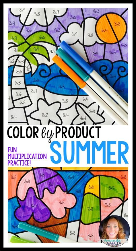 Here's A Fun Way For Kids To Practice Their Multiplication Facts! These Summer Themed Sheets Are