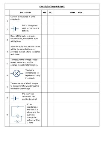 electricity worksheet  bluebell teaching resources tes