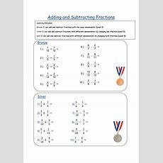 Adding & Subtracting Fractions Differentiated Ws By Fionajones88  Teaching Resources