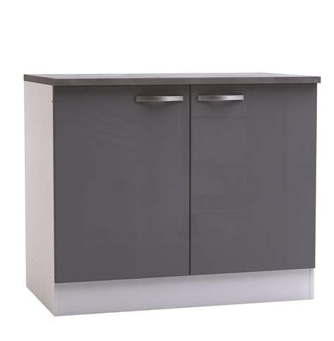 photo de meuble de cuisine meuble bas de cuisine contemporain 2 portes blanc mat gris