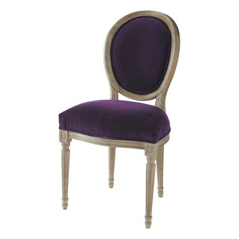 chaises médaillon chaise médaillon en velours et chêne massif aubergine