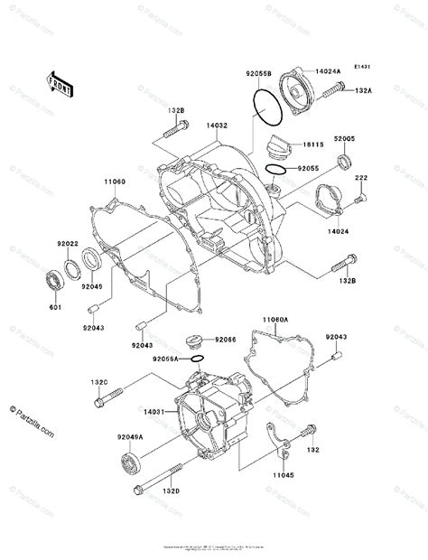 Kawasaki Atv Oem Parts Diagram For Engine Cover