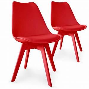 Chaise Scandinave Rouge : chaises scandinave colors rouge lot de 2 pas cher scandinave deco ~ Teatrodelosmanantiales.com Idées de Décoration