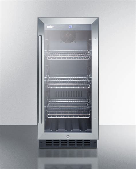 glass door beverage refrigerator buy summit scr1536bg 15 quot wide built in undercounter glass