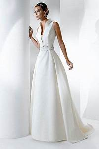 transcendent white sleeveless a line satin dress with high With collared wedding dress