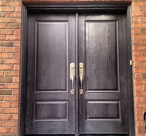 2, Panel, Woodgrain, Fiberglass, Double, Door, In, Charcoal, Stain, Finish