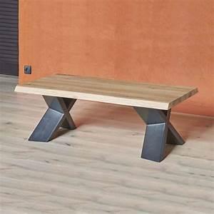 Table Basse Moderne En Chne Massif Et Mtal Pieds En X