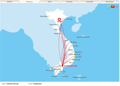 schedules and routes vietnam airlines