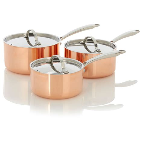 george home set   copper tri ply saucepans pots pans asda direct george home