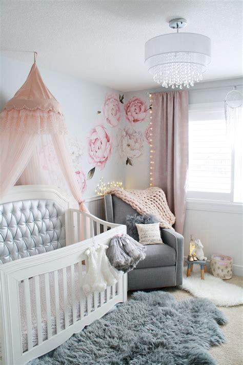 glamorous pink  gray nursery pink crib baby girl