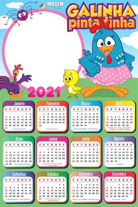 Calendário 2021 Galinha Pintadinha Saia Rosa PNG Imagem