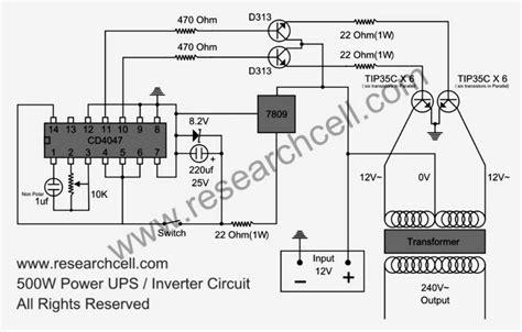 car power inverter wiring diagram 500w power inverter circuit based tip35c inverter