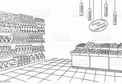 Grocery Sketch Interior Vector Clipart Illustration Graphic