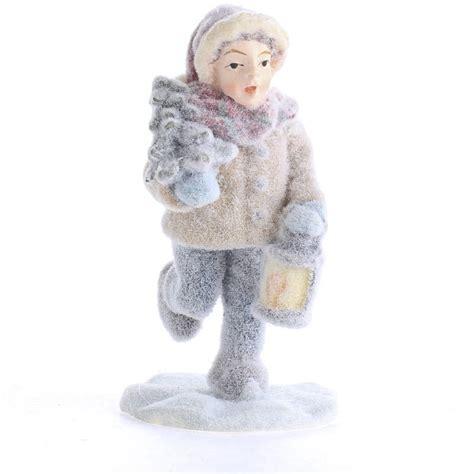 snowy christmas miniature boy figurine table decor