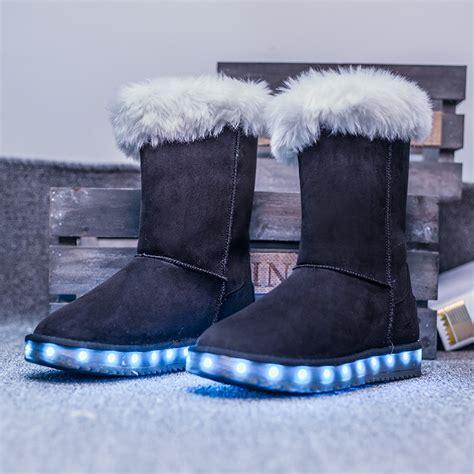 light up boots for girls 2016 winter kids girls boots fashion warm plush fur snow