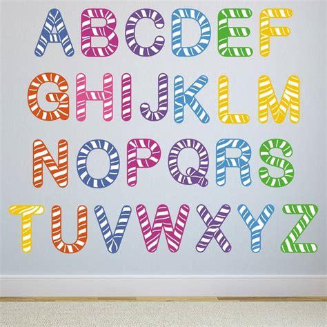 stripe alphabet wall stickers  mirrorin