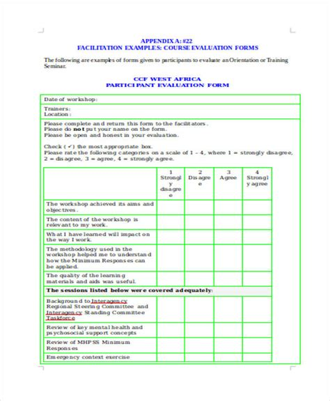 training evaluation forms  ms word