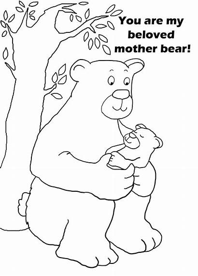 Coloring Mother Mothers Pages Sheet Bear Text