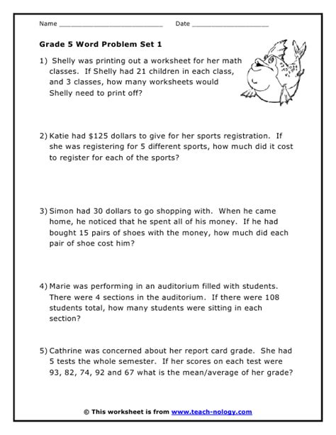 word problems worksheets for grade 5 grade 5 word problems set 1
