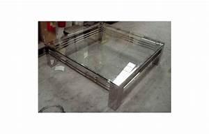 Table Basse Verre Et Acier : table basse en verre pied chrome le bois chez vous ~ Teatrodelosmanantiales.com Idées de Décoration