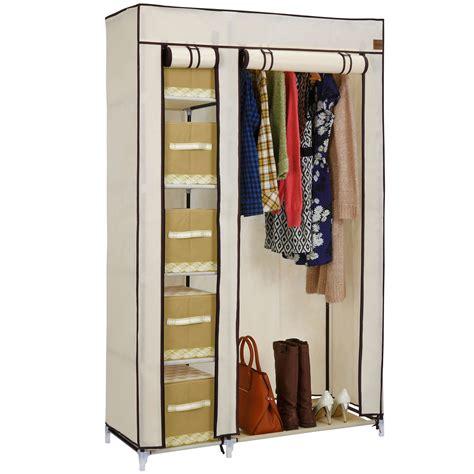 Wardrobe And Storage by Vonhaus Canvas Effect Wardrobe Clothes Hanging Rail