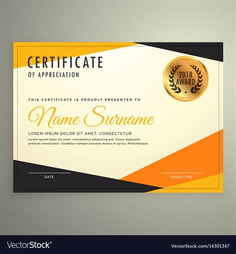 certificate templates with photos certificate design template with clean modern vector image