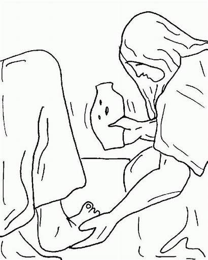 Jesus Feet Woman Coloring Mary Anointing Clipart