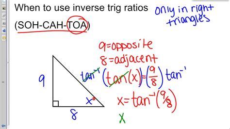 Inverse Trig Ratios (sohcahtoa) Youtube
