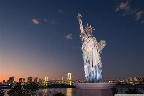 statue  liberty tokyo japan ultra hd desktop