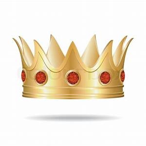 Gold Crown With Red Gems  Vector Illustration