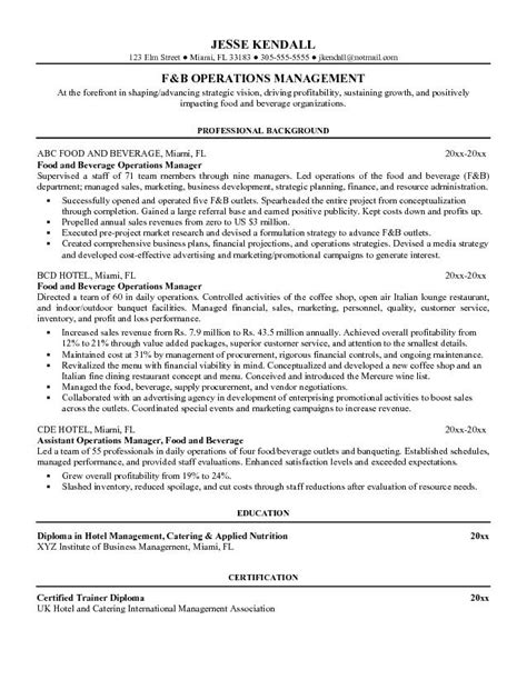 exle food and beverage operations manager resume sle