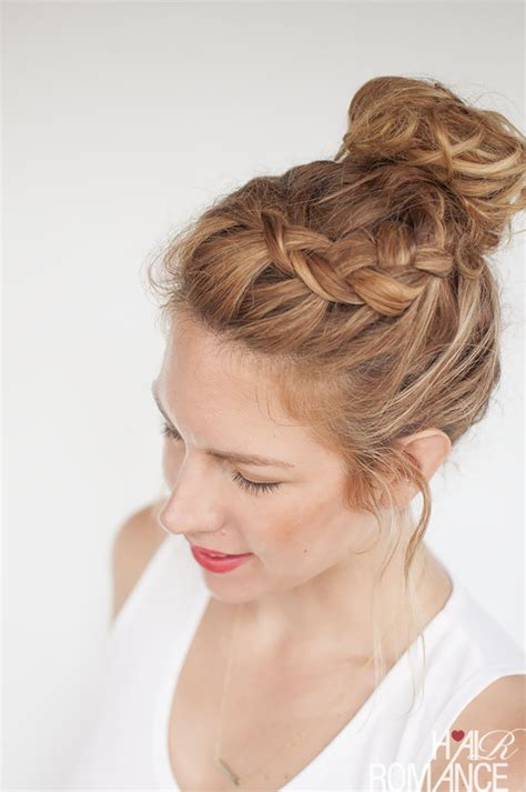 everyday curly hairstyles curly braided top knot