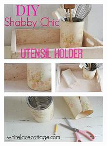 Shabby Chic Diy : diy shabby chic utensil holder white lace cottage ~ Frokenaadalensverden.com Haus und Dekorationen