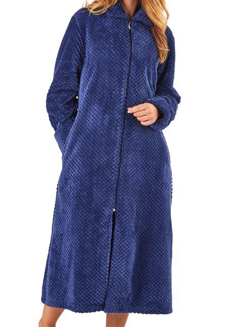 robe de chambre polaire fermeture eclair femmes slenderella peignoir fermeture éclair gaufré