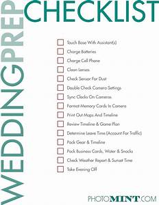 photographer checklist for the night before a wedding With wedding photography equipment checklist