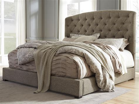 signature furniture warranty california king upholstered bed with arched tufted headboard and low footboard by signature