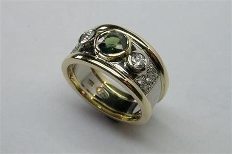 lustrous contemporary style green sapphire  diamond