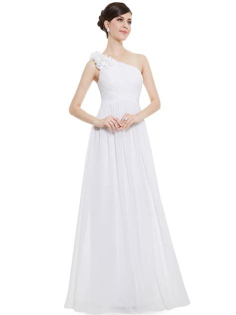 chiffon ruched long  shoulder white bridesmaid dresses