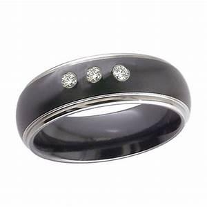 black zirconium wedding ring with three diamonds With black zirconium wedding rings