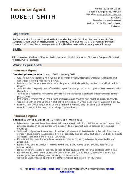 Insurance Resume by Insurance Resume Sles Qwikresume