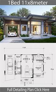 Home, Design, Plan, 11x8m, With, One, Bedroom
