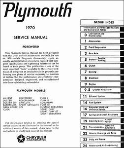 1970 Plymouth Repair Shop Manual Original