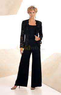 Black/Navy Blue Chiffon Beading Lace Casual Mother Of the Bride Pant Suits With Long Sleeve Jacket Plus Size