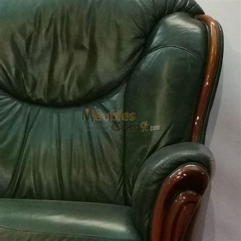 rapido canapé canapé stylisé cuir vert bois apparent 3 places n124