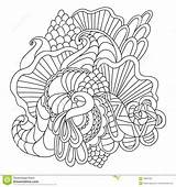 Coloring Pages Vector Adults Nature Drawn Curl Hand Pattern Sketchy Ornamental Doodle Decorative Abstract sketch template