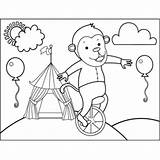 Unicycle Monkey Coloring Circus Carnival Printable sketch template