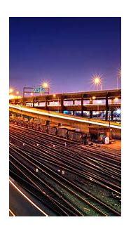 railway, Light trails, Lights, Night, Urban, HDR ...