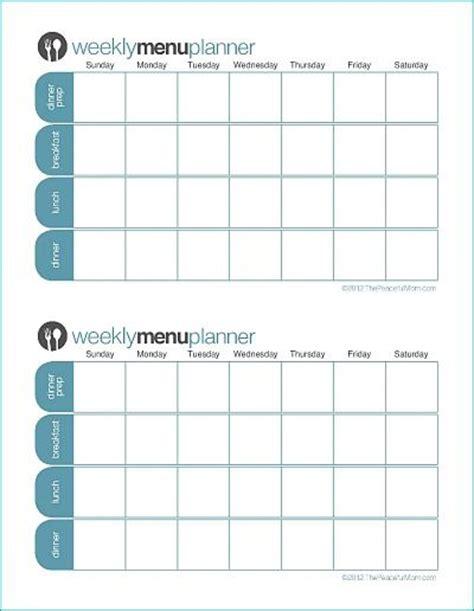 click print tpm customizable week menu planner saving money