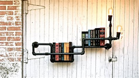 industrial pipe bookshelf  tv